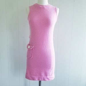 1960s Flutterbye Pink & White Dress